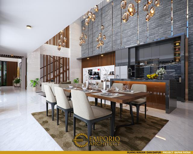 Desain Ruang Makan dan Dapur Rumah Modern 2 Lantai Bapak Fatah di Blora, Jawa Tengah