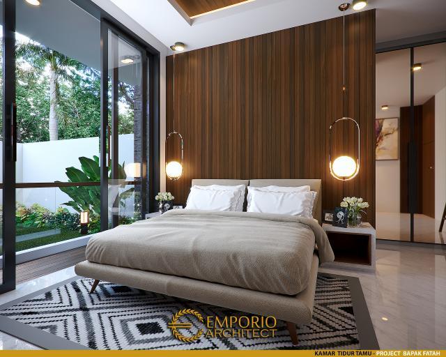 Desain Kamar Tidur Tamu Rumah Modern 2 Lantai Bapak Fatah di Blora, Jawa Tengah
