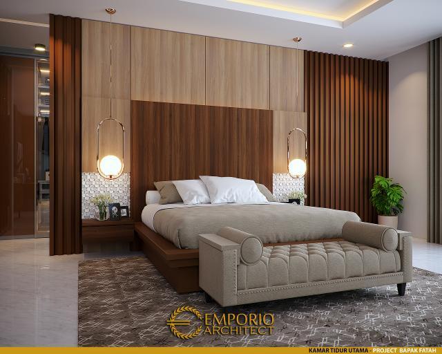 Desain Kamar Tidur Utama Rumah Modern 2 Lantai Bapak Fatah di Blora, Jawa Tengah