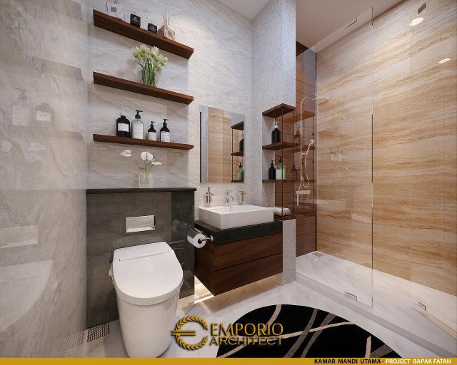 Desain Kamar Mandi Utama Rumah Modern 2 Lantai Bapak Fatah di Blora, Jawa Tengah