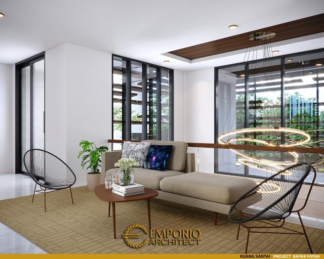 Desain Ruang Santai Rumah Modern 2 Lantai Bapak Fatah di Blora, Jawa Tengah