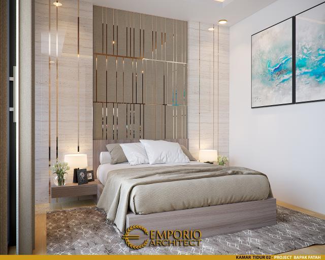 Desain Kamar Tidur 2 Rumah Modern 2 Lantai Bapak Fatah di Blora, Jawa Tengah