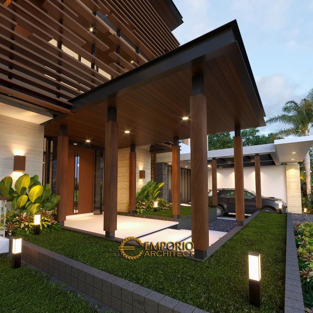 Desain Tampak Detail Depan Rumah Modern 2 Lantai Bapak Fatah di Blora, Jawa Tengah
