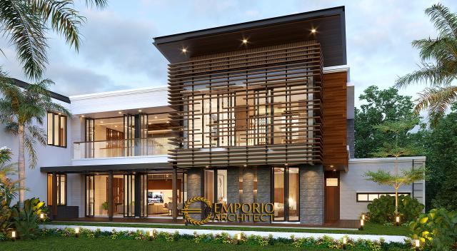 Desain Tampak Belakang Rumah Modern 2 Lantai Bapak Fatah di Blora, Jawa Tengah