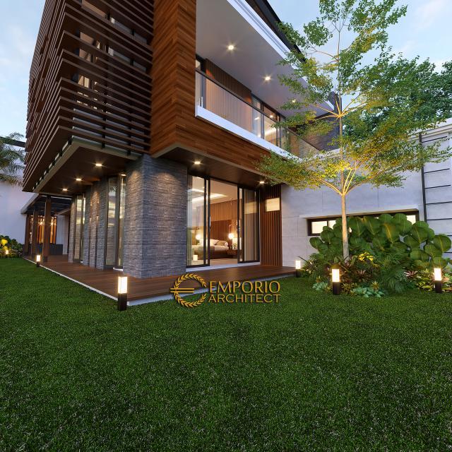 Desain Tampak Detail Belakang Rumah Modern 2 Lantai Bapak Fatah di Blora, Jawa Tengah