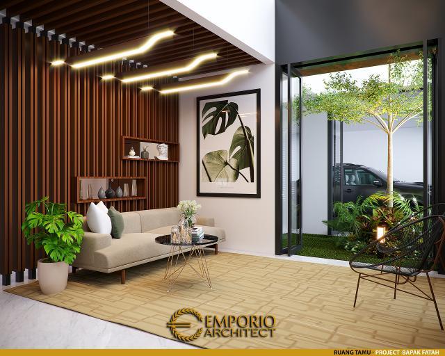 Desain Ruang Tamu Rumah Modern 2 Lantai Bapak Fatah di Blora, Jawa Tengah