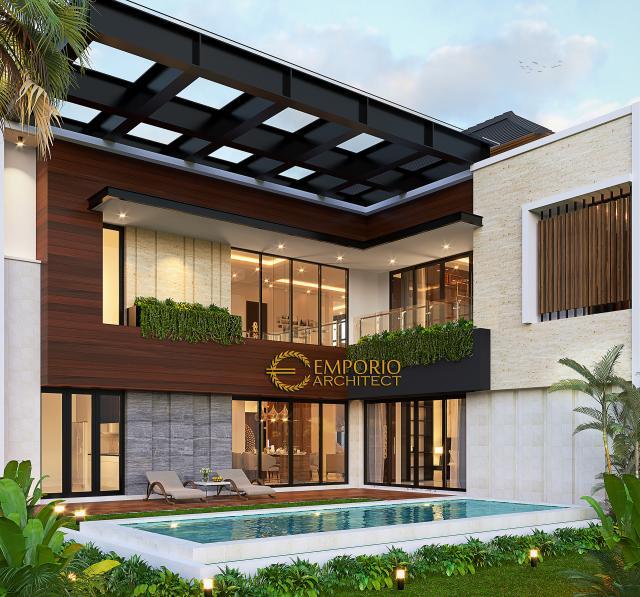 Desain Tampak Belakang Rumah Modern 2 Lantai Bapak Jefri di Kota Wisata Cibubur, Bogor, Jawa Barat
