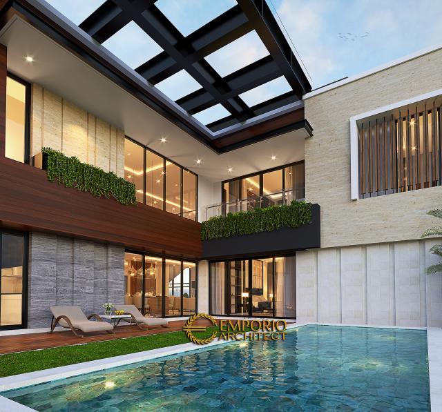 Desain Tampak Detail Belakang Rumah Modern 2 Lantai Bapak Jefri di Kota Wisata Cibubur, Bogor, Jawa Barat