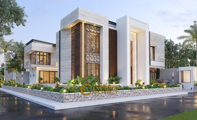 Desain Rumah Modern 2 Lantai Ibu Novi di Palembang - Tampak Hook Tanpa Pagar