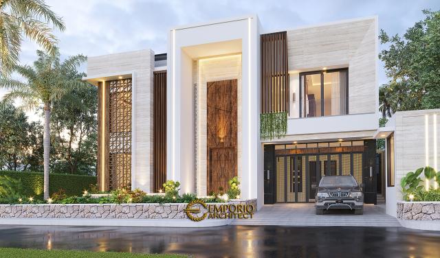 Desain Tampak Depan Rumah Modern 2 Lantai Ibu Novi di Palembang