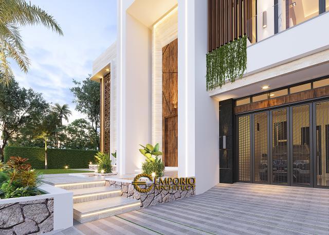 Desain Tampak Detail Depan Rumah Modern 2 Lantai Ibu Novi di Palembang