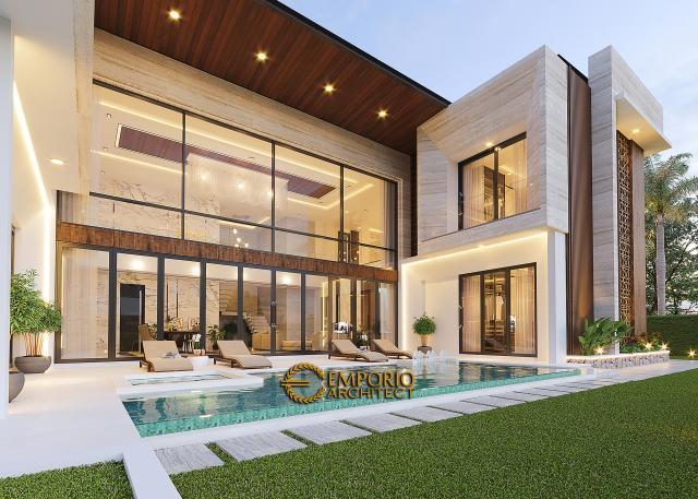 Desain Tampak Detail Kolam 2 Rumah Modern 2 Lantai Ibu Novi di Palembang