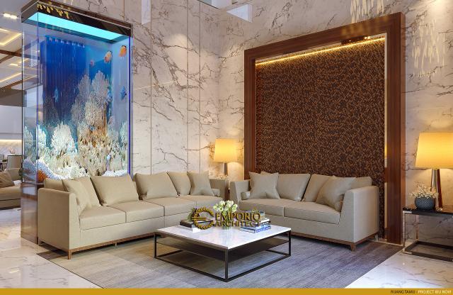 Desain Ruang Tamu Rumah Modern 2 Lantai Ibu Novi di Palembang