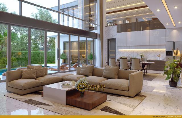 Desain Ruang Keluarga Rumah Modern 2 Lantai Ibu Novi di Palembang