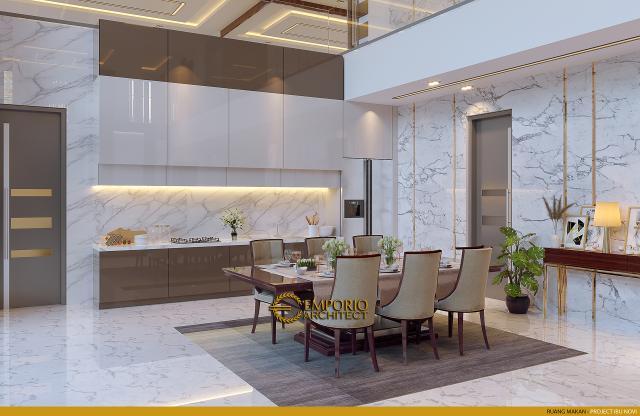 Desain Ruang Makan Rumah Modern 2 Lantai Ibu Novi di Palembang