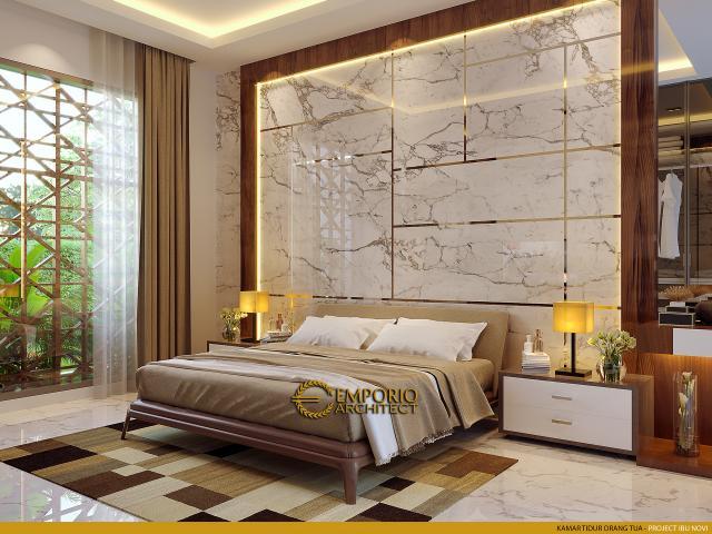 Desain Kamar Tidur Orang Tua Rumah Modern 2 Lantai Ibu Novi di Palembang