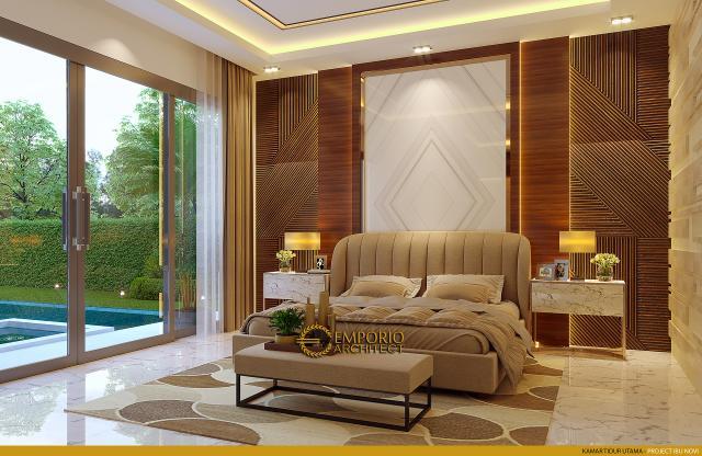 Desain Kamar Tidur Utama Rumah Modern 2 Lantai Ibu Novi di Palembang
