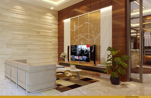 Desain Ruang Keluarga Kamar Tidur Utama Rumah Modern 2 Lantai Ibu Novi di Palembang