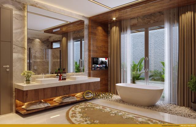 Desain Kamar Mandi Utama Rumah Modern 2 Lantai Ibu Novi di Palembang