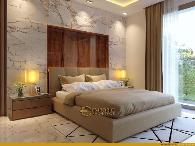 Desain Kamar Tidur 1 Rumah Modern 2 Lantai Ibu Novi di Palembang
