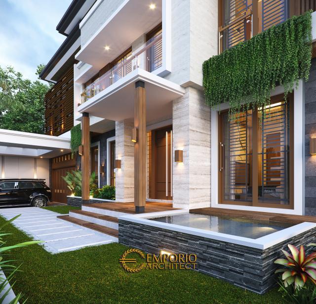 Desain Tampak Detail Depan Rumah Modern 2 Lantai Bapak Victor di Jawa Timur