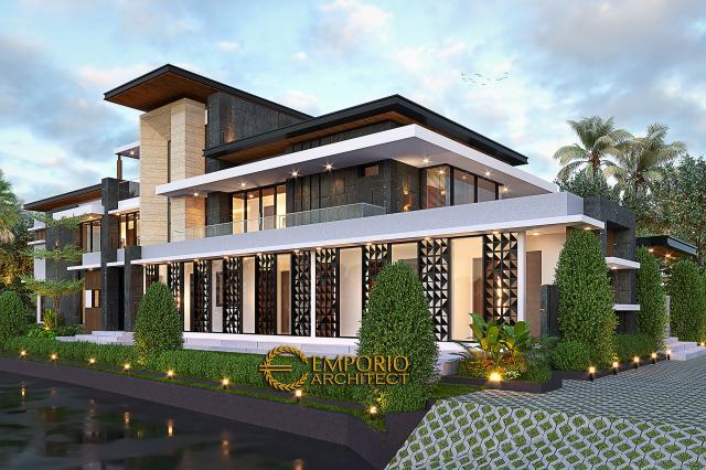 Desain Rumah Modern 2 Lantai Ibu Sisca di Bogor, Jawa Barat - Tampak Depan Tanpa Pagar