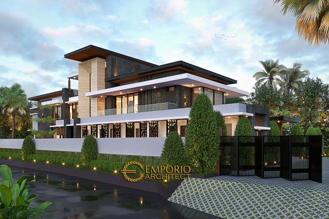 Desain Tampak Depan Dengan Pagar Rumah Modern 2 Lantai Ibu Sisca di Bogor, Jawa Barat