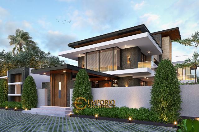 Desain Tampak Angkul-angkul Depan Rumah Modern 2 Lantai Ibu Sisca di Bogor, Jawa Barat
