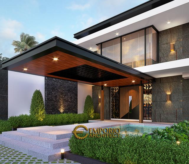 Desain Tampak Detail Depan Rumah Modern 2 Lantai Ibu Sisca di Bogor, Jawa Barat