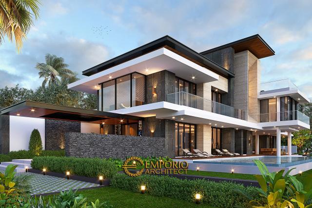 Desain Tampak Samping Rumah Modern 2 Lantai Ibu Sisca di Bogor, Jawa Barat