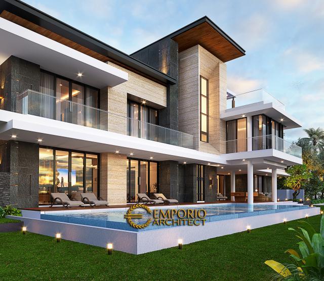 Desain Tampak Detail Samping Rumah Modern 2 Lantai Ibu Sisca di Bogor, Jawa Barat