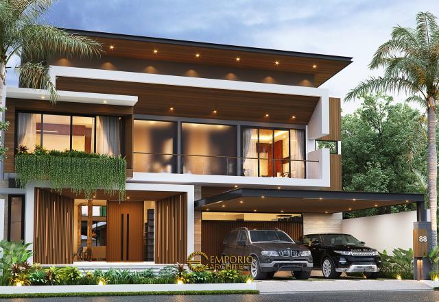 Desain Rumah Modern 2 Lantai Bapak Yoga di Lampung - Tampak Depan