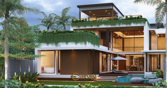 Desain Tampak Belakang Rumah Modern 2 Lantai Bapak Yoga di Lampung