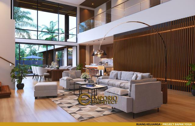 Desain Ruang Keluarga Rumah Modern 2 Lantai Bapak Yoga di Lampung