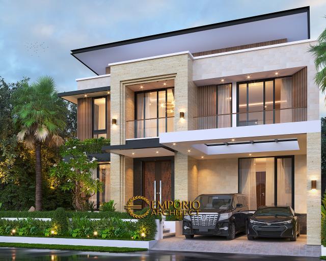 Desain Rumah Modern 2 Lantai Bapak Yan Yeremia di BSD, Tangerang Selatan, Banten - Tampak Depan