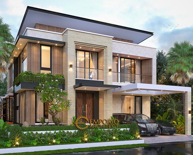 Desain Tampak Depan 2 Rumah Modern 2 Lantai Bapak Yan Yeremia di BSD, Tangerang Selatan, Banten