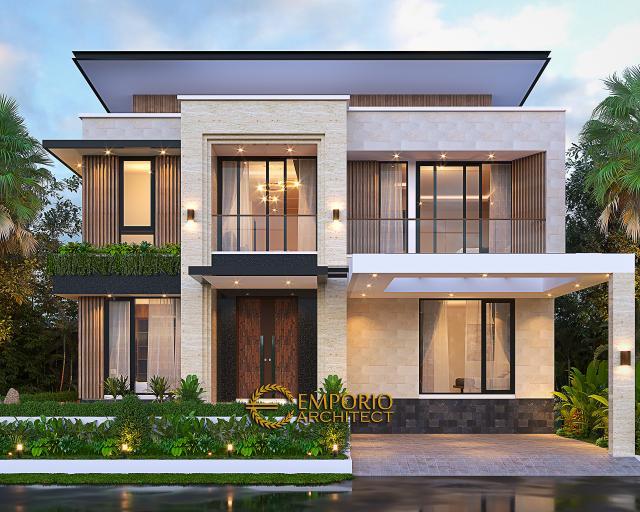 Desain Tampak Depan 3 Rumah Modern 2 Lantai Bapak Yan Yeremia di BSD, Tangerang Selatan, Banten