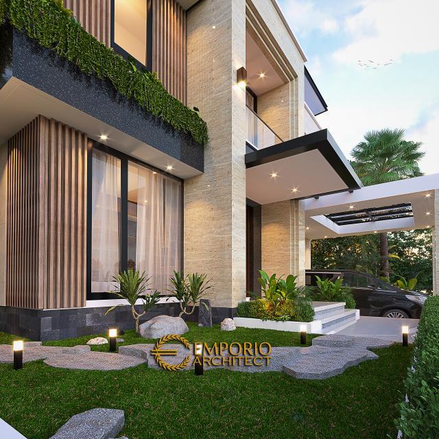 Desain Tampak Detail Depan Rumah Modern 2 Lantai Bapak Yan Yeremia di BSD, Tangerang Selatan, Banten