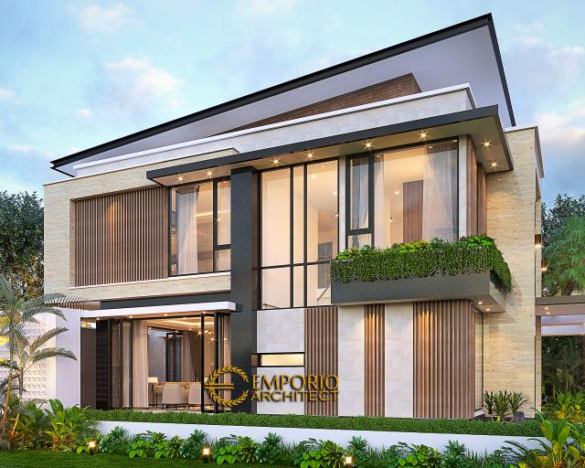 Desain Tampak Samping Rumah Modern 2 Lantai Bapak Yan Yeremia di BSD, Tangerang Selatan, Banten