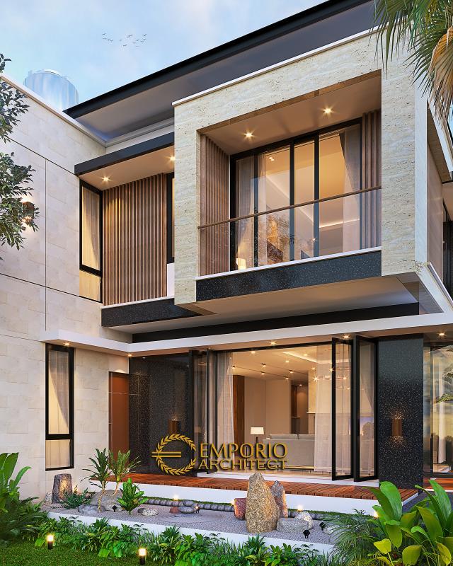 Desain Tampak Belakang Rumah Modern 2 Lantai Bapak Yan Yeremia di BSD, Tangerang Selatan, Banten