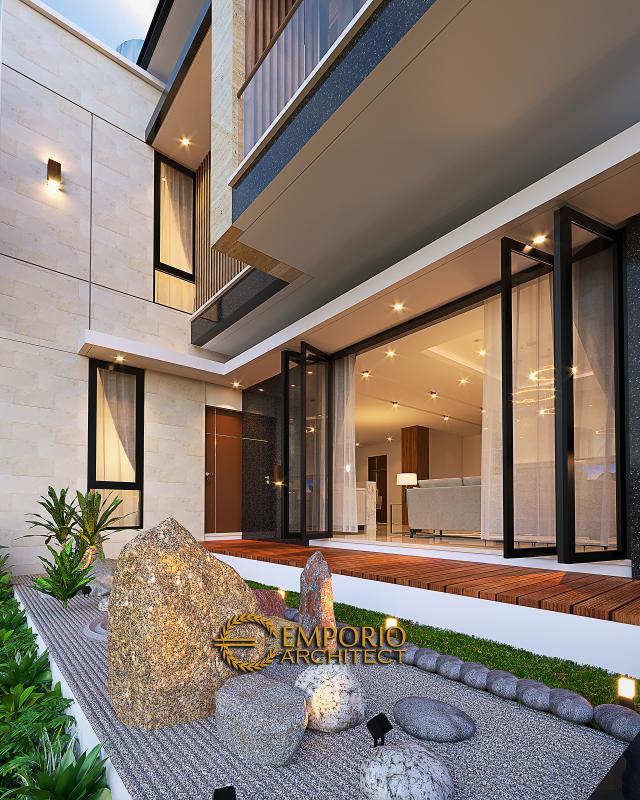Desain Tampak Detail Belakang Rumah Modern 2 Lantai Bapak Yan Yeremia di BSD, Tangerang Selatan, Banten
