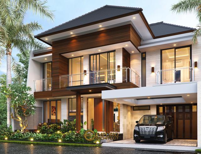 Desain Rumah Modern 2 Lantai Ibu Susan di Bandung - Tampak Depan Tanpa Pagar