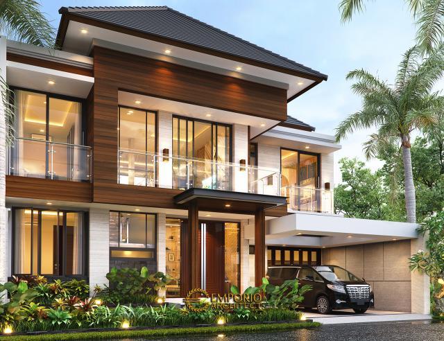 Desain Tampak Depan Tanpa Pagar Rumah Modern 2 Lantai Ibu Susan di Bandung