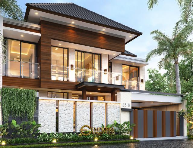 Desain Tampak Depan Dengan Pagar Rumah Modern 2 Lantai Ibu Susan di Bandung