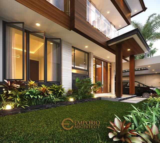 Desain Tampak Detail Depan Rumah Modern 2 Lantai Ibu Susan di Bandung
