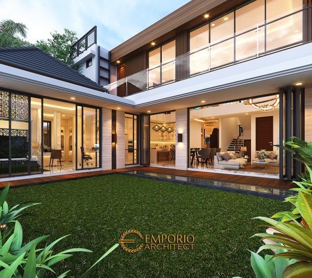 Desain Tampak Detail Belakang Rumah Modern 2 Lantai Ibu Susan di Bandung