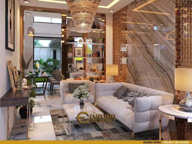Desain Ruang Tamu Rumah Modern 2 Lantai Ibu Susan di Bandung