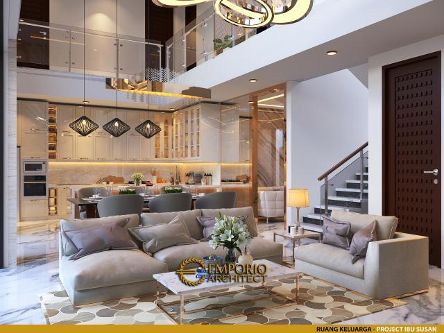 Desain Ruang Keluarga Rumah Modern 2 Lantai Ibu Susan di Bandung