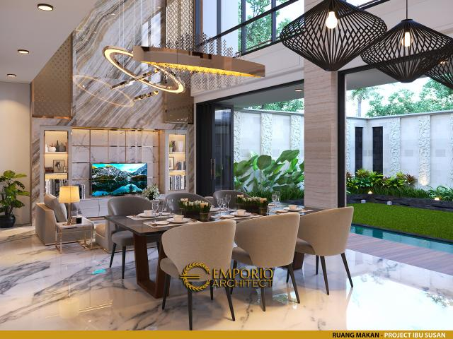 Desain Ruang Makan Rumah Modern 2 Lantai Ibu Susan di Bandung