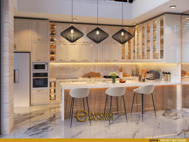 Desain Dapur Rumah Modern 2 Lantai Ibu Susan di Bandung